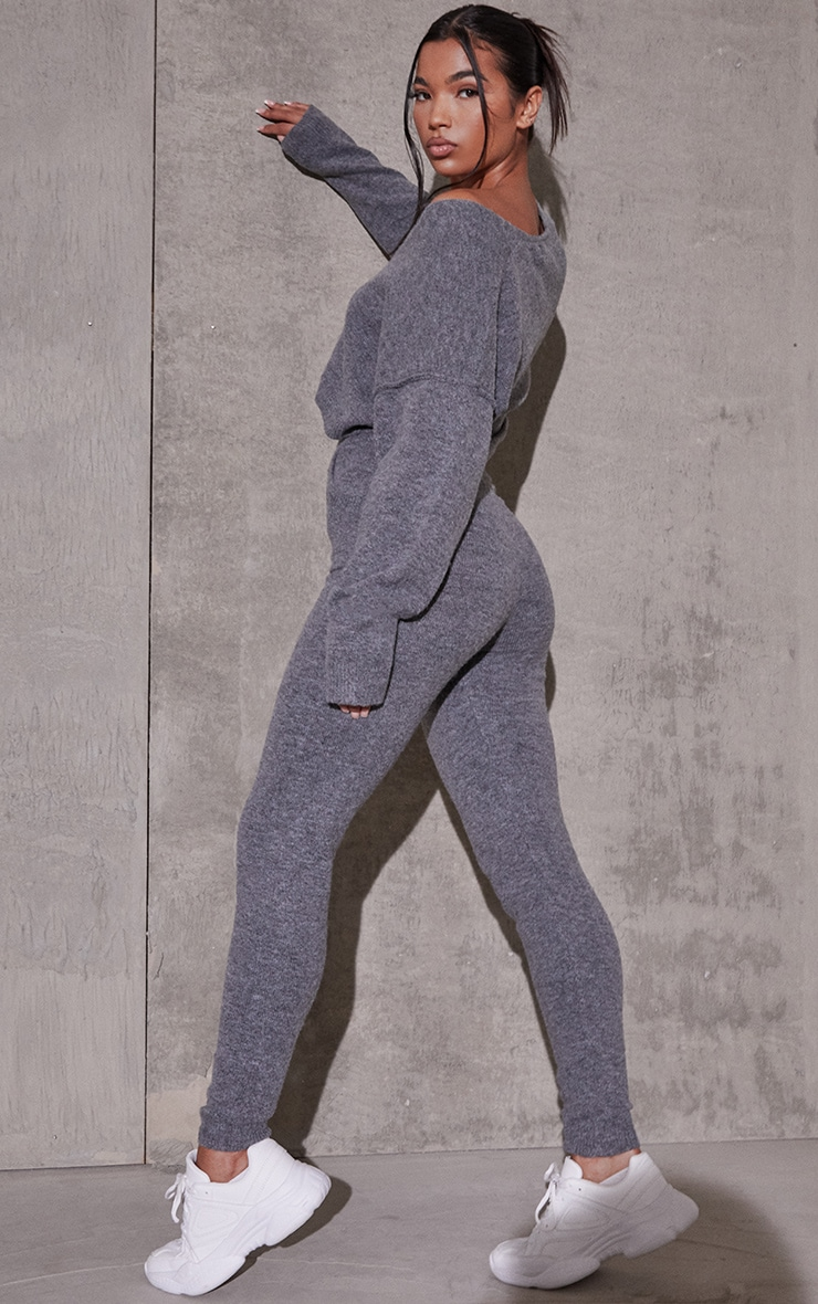 Charcoal Recycled Crop Sweater And Jogger Knitted Lounge Set 2