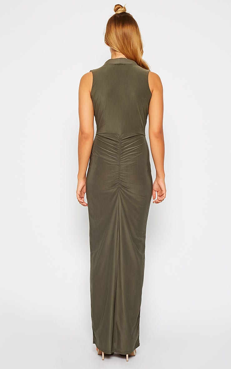 Rabia Khaki Ruched Cowl Maxi Dress 2