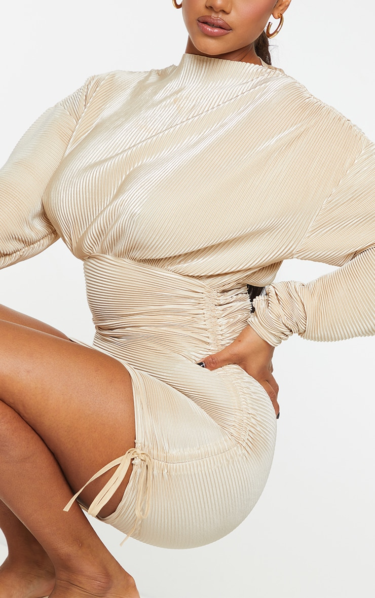 Champagne Plisse Detail Long Sleeve Ruched Skirt Bodycon Dress 4