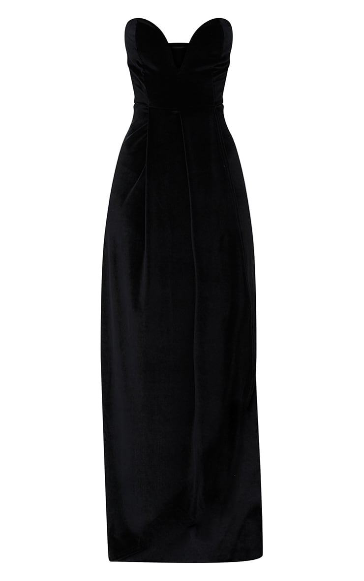 Black Velvet Draped Wrap Detail Bandeau Maxi Dress 3