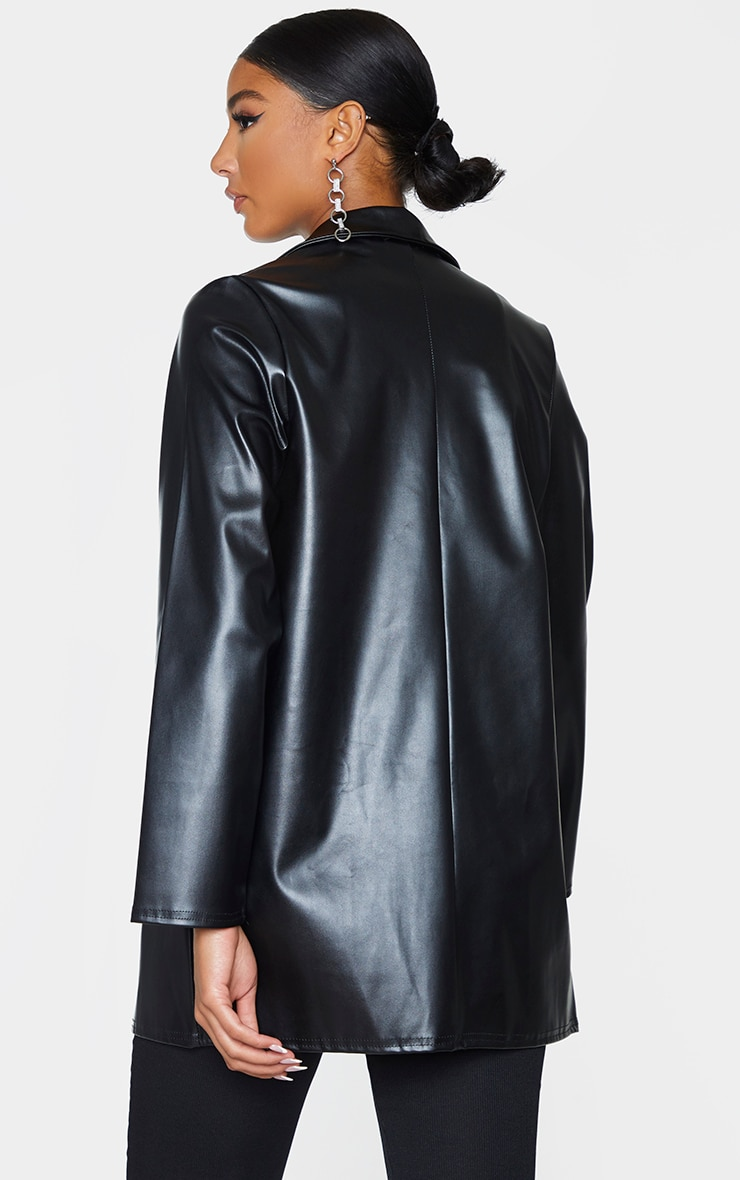 Black Longline Lapel Detail Faux Leather Blazer 2