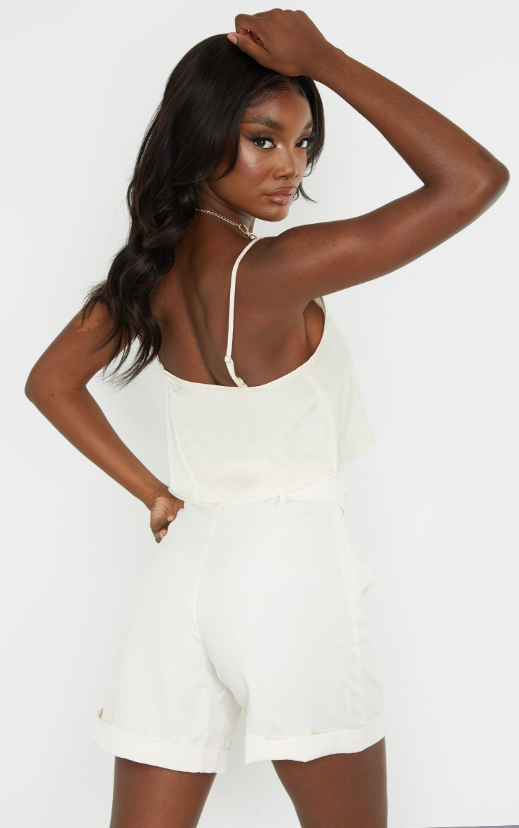 Tall Champagne Button Detail Split Front Strappy Crop Top 2