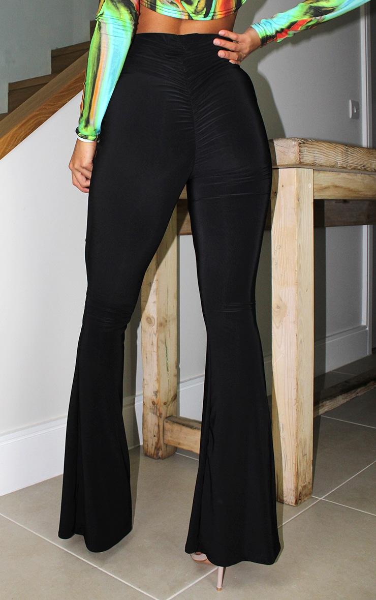 Petite Black Flare Ruched Bum Slinky Pants 3
