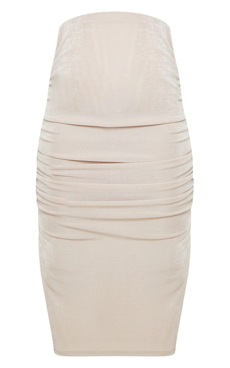 Petite Champagne Ruched Double Split Midi Skirt 3