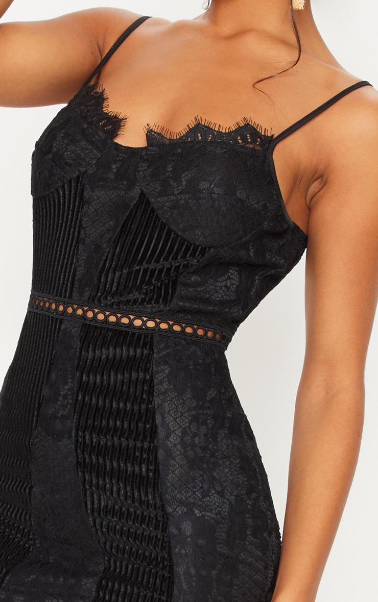 Black Strappy Lace Velvet Insert Bodycon Dress 4