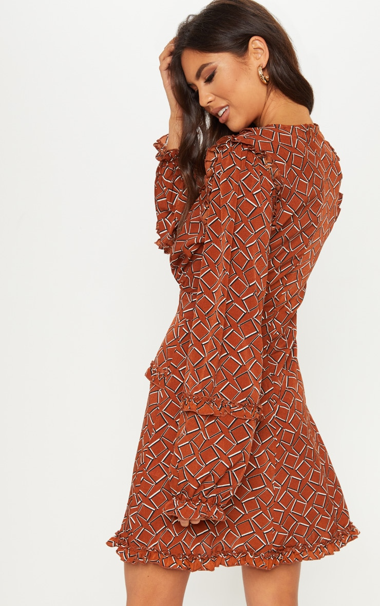 Brown Geo Print Frill Detail Skater Dress 2