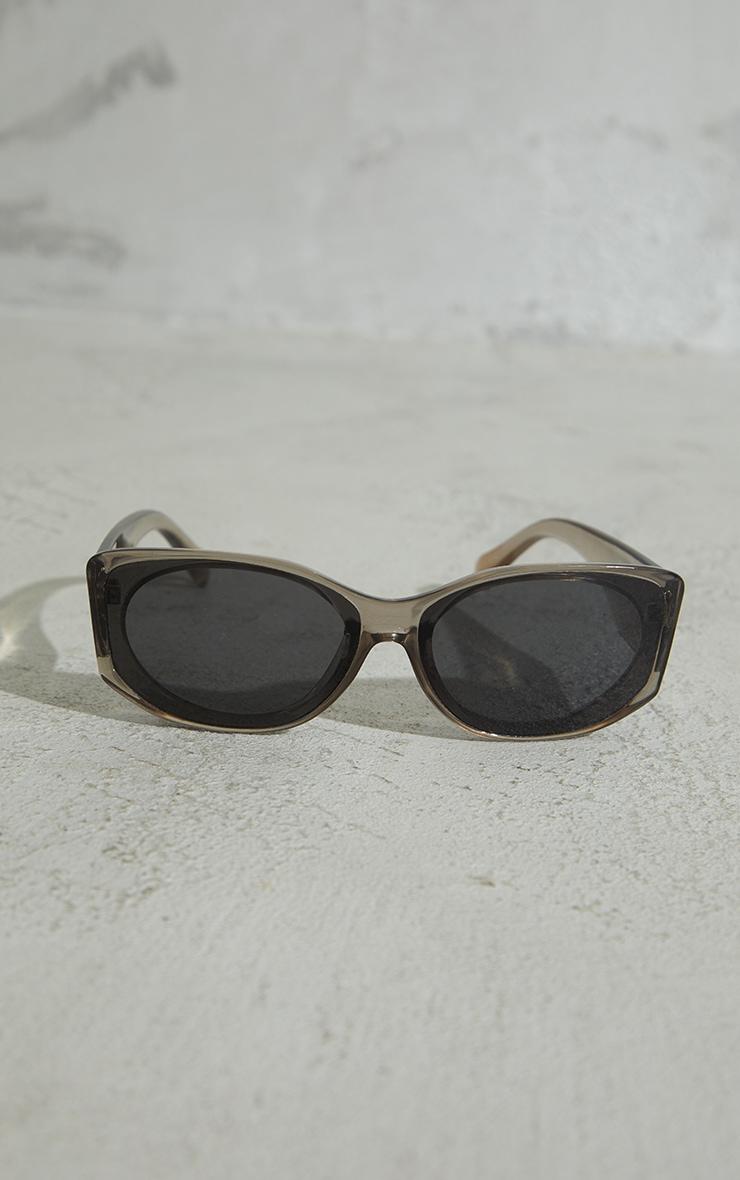 Grey Crystal Two Tone Squareframe Sunglasses 2