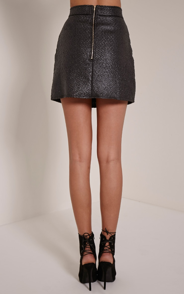 Yenni Black Iridescent A-Line Mini Skirt 3