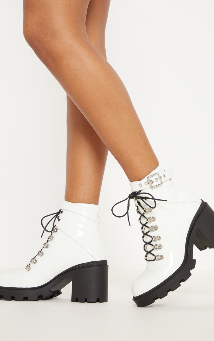 White Lace Up Heeled Hiker Boot 2