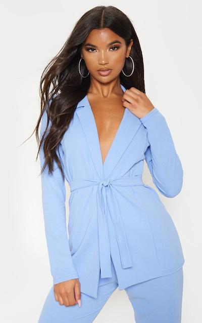 Cornflower Blue Belted Blazer