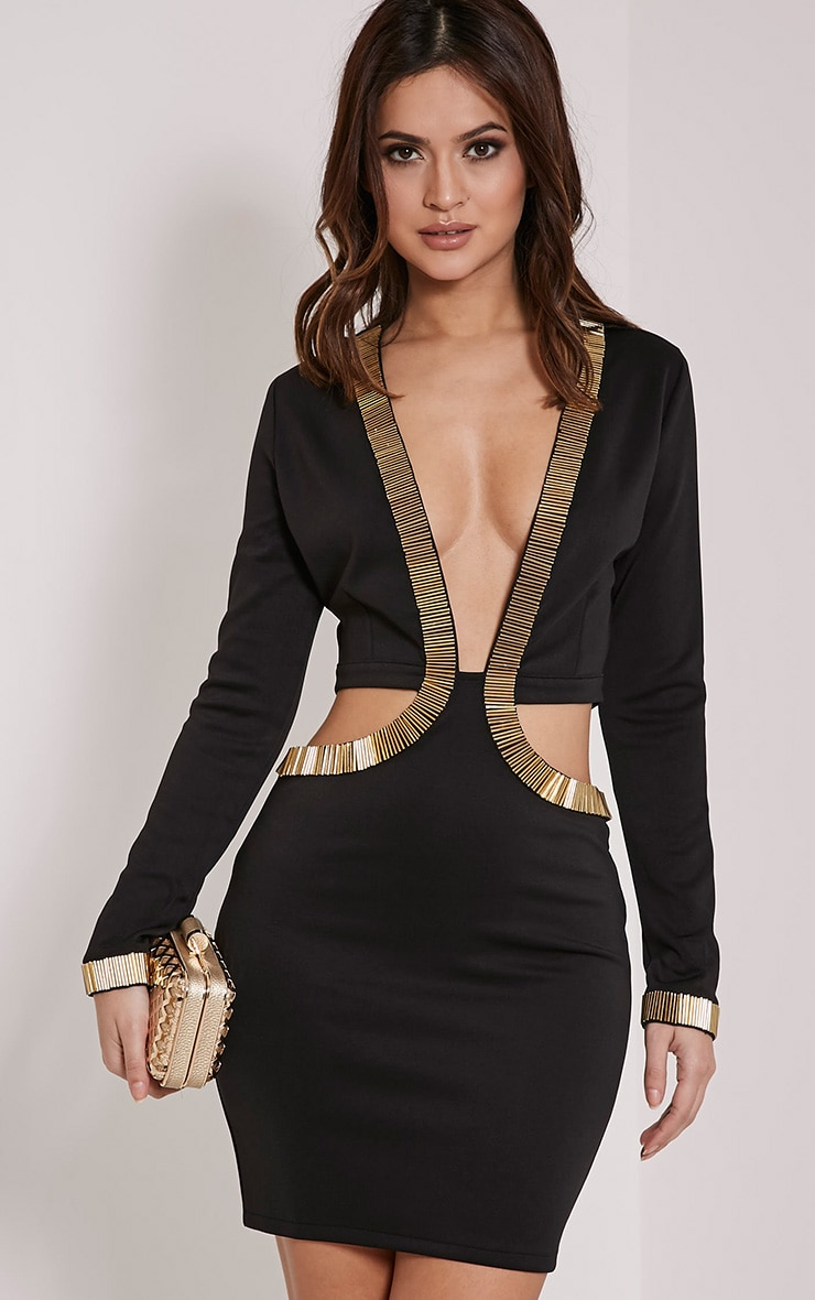 Adella Black Beaded Plunge Cut Out Dress 1