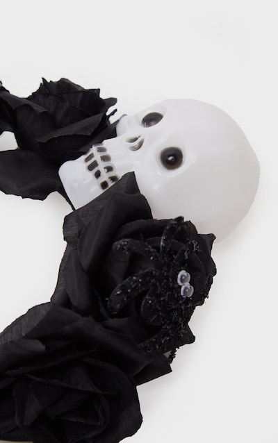 Black Day Of the Dead Flower And Skull Headband