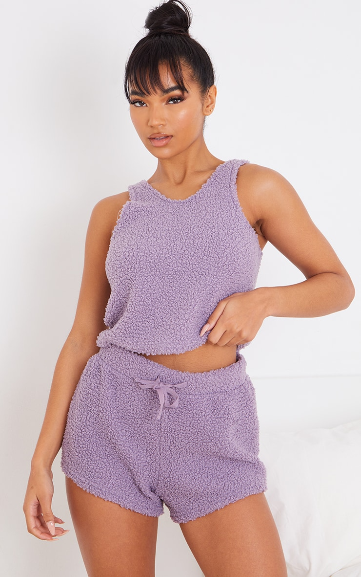 Lilac Borg Crop Top And Shorts Lounge Set 3