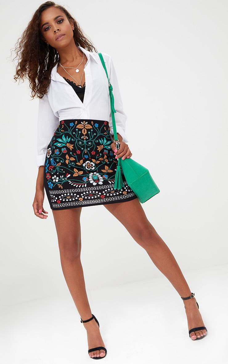 Petite Black Embroidered Print Mini Skirt 4