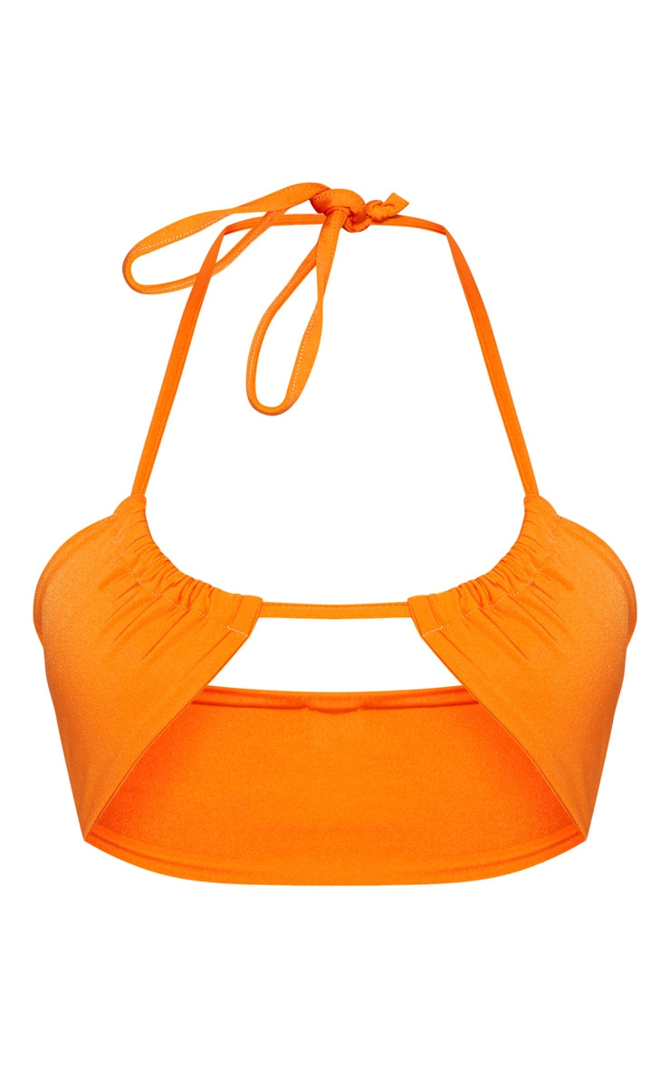 Shape Orange Cut Out Tie Front Bikini Top 3