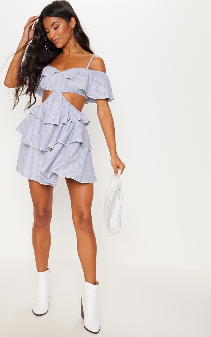Black Stripe Bardot Tiered Cut Out Shift Dress 4