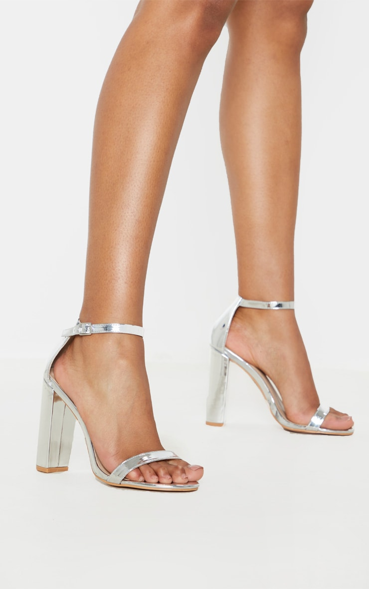 May Silver Block Heeled Sandal 1