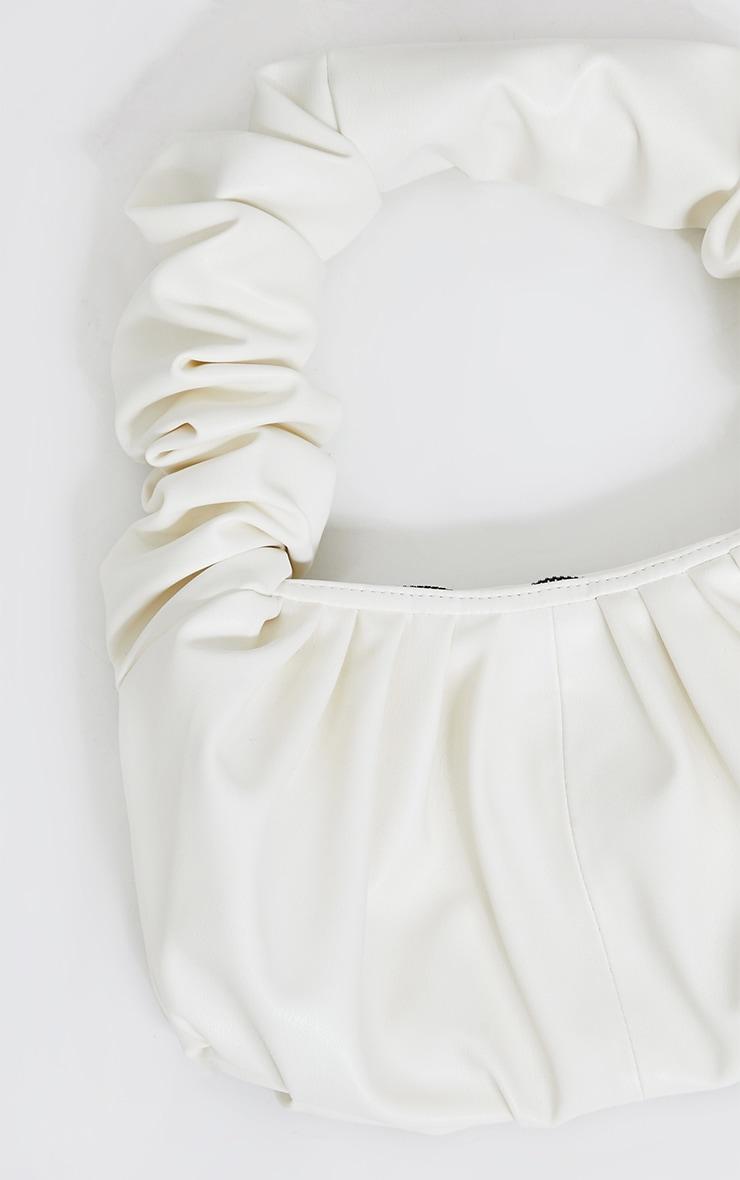 Cream Ruched Handle Oversized Shoulder Bag 2