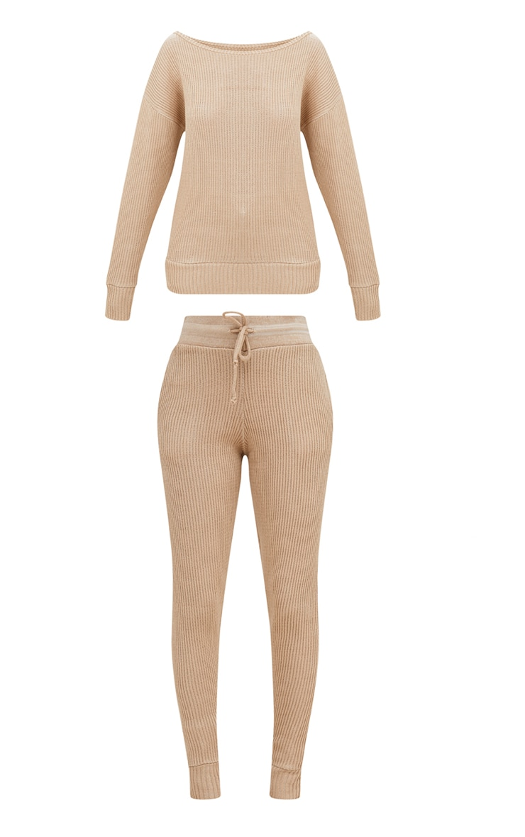 Stone Ribbed Knitted Lounge Tracksuit 3
