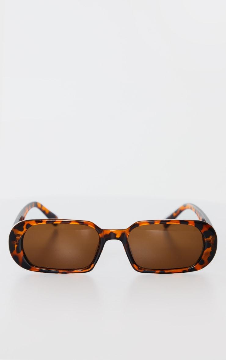 Brown Tortoise Round Frame Slim Sunglasses 2