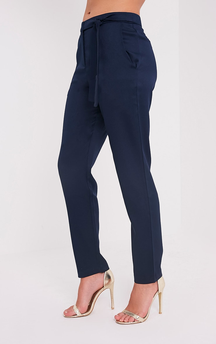 Avah Navy Tie Waist Cigarette Trousers 4