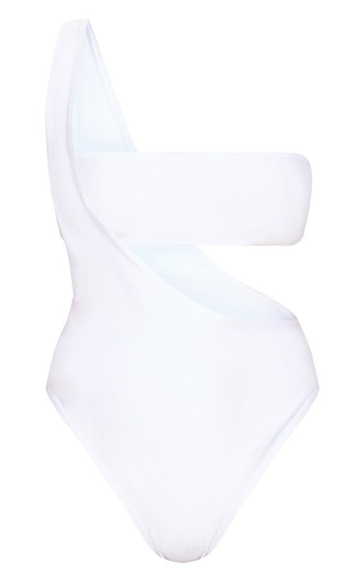 Petite - Maillot de bain une pièce blanc asymétrique 3