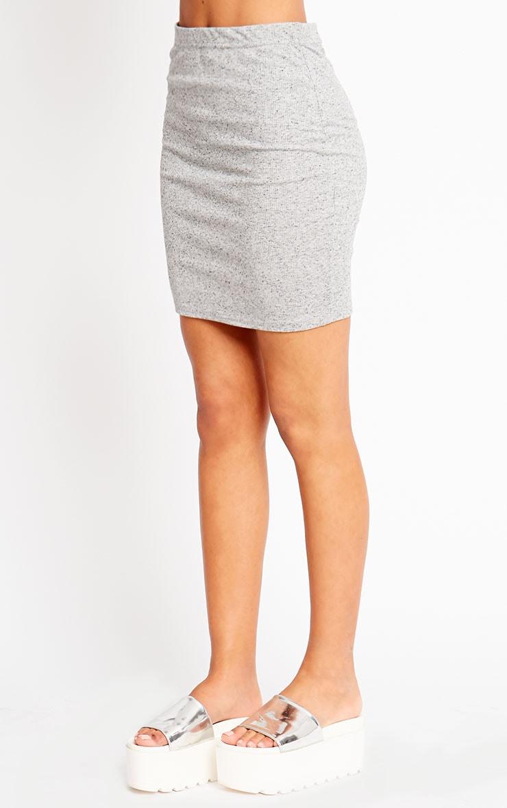 Honey Grey Ribbed Mini Skirt 3