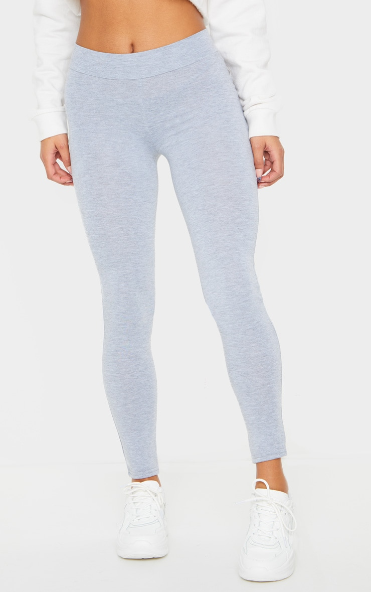 Basic Grey High Waisted Jersey Leggings 2