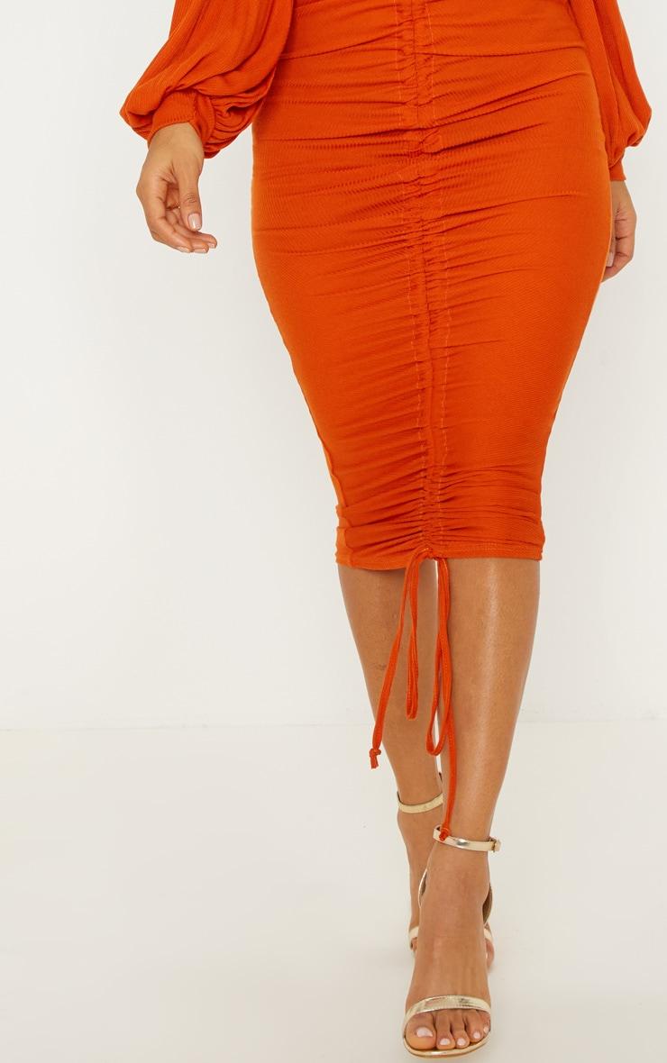 Burnt Orange Ribbed Balloon Sleeve Ruched Midi Dress 5