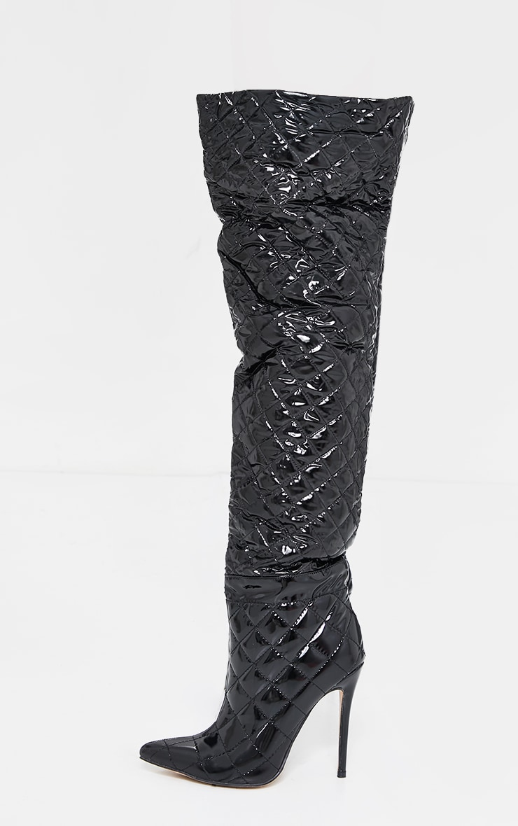 Black Vinyl Quilted Thigh High Boots 4