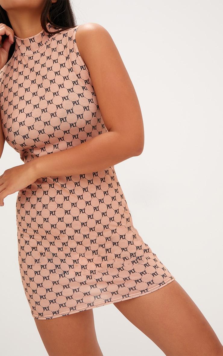 Camel Jersey PLT Print Bodycon Dress 5