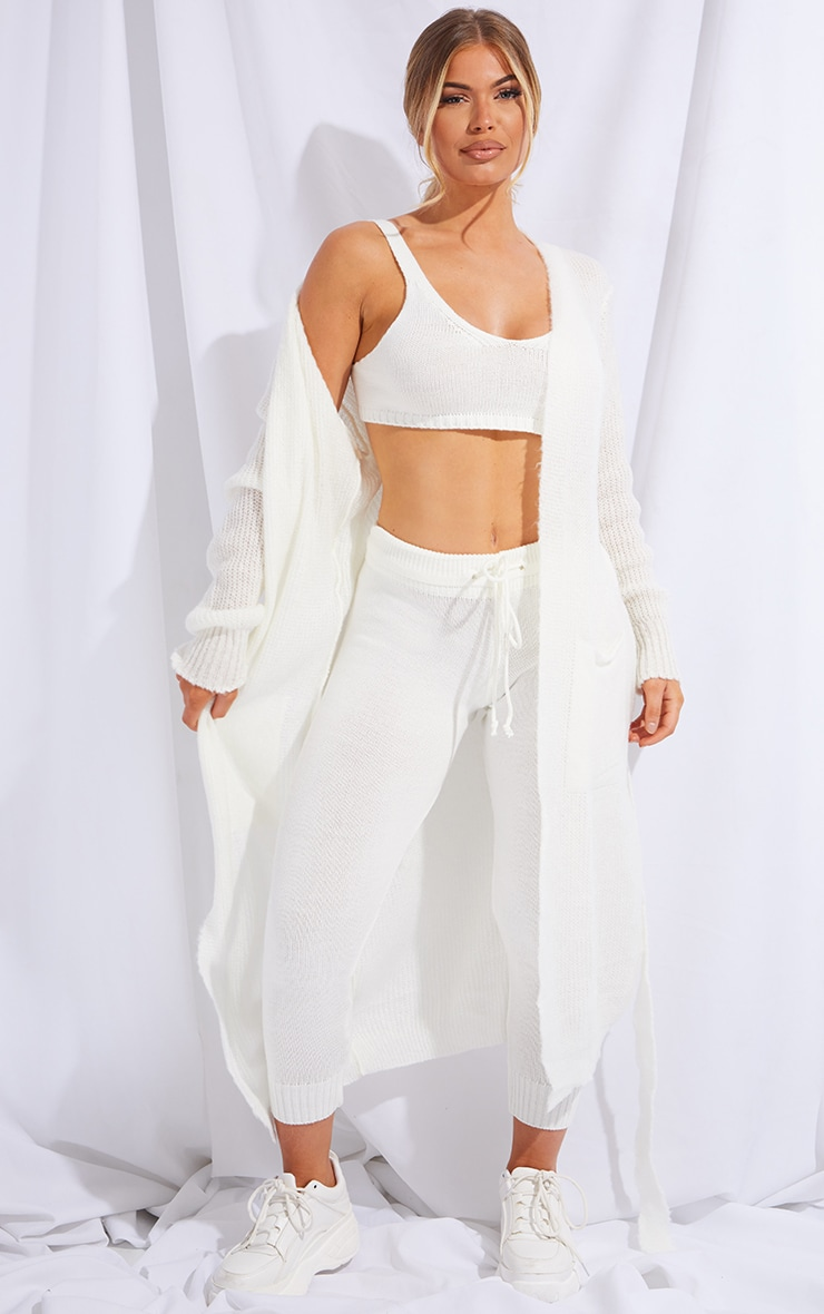 Cream Knitted Bralet And Jogger Set 2