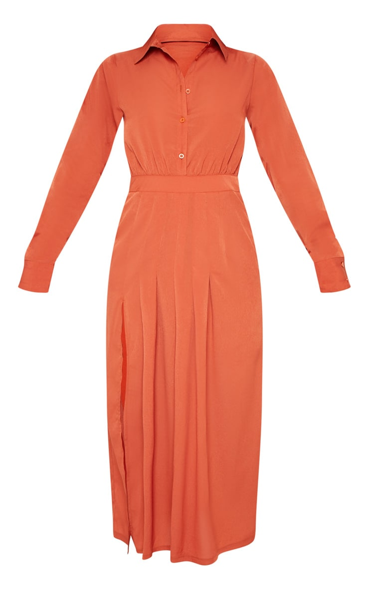 Rust Long Sleeve Midi Shirt Dress 3