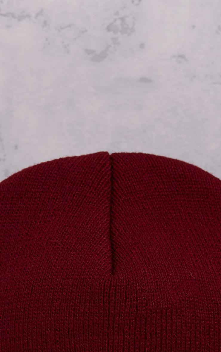 Pollee Burgundy Beanie Hat 4