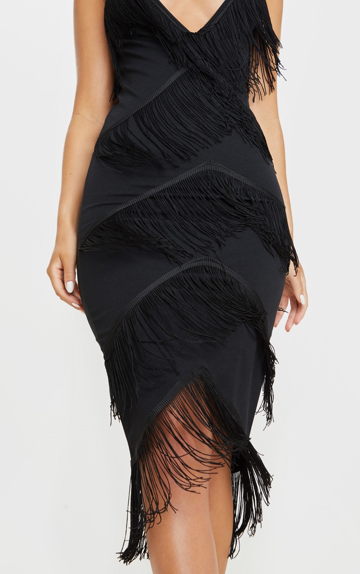 Black Strappy Tassel Longline Midi Dress 5