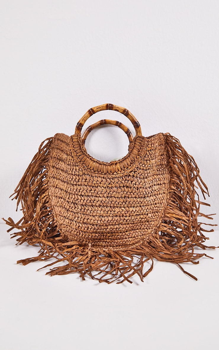 Brown Raffia Grab Bag 3