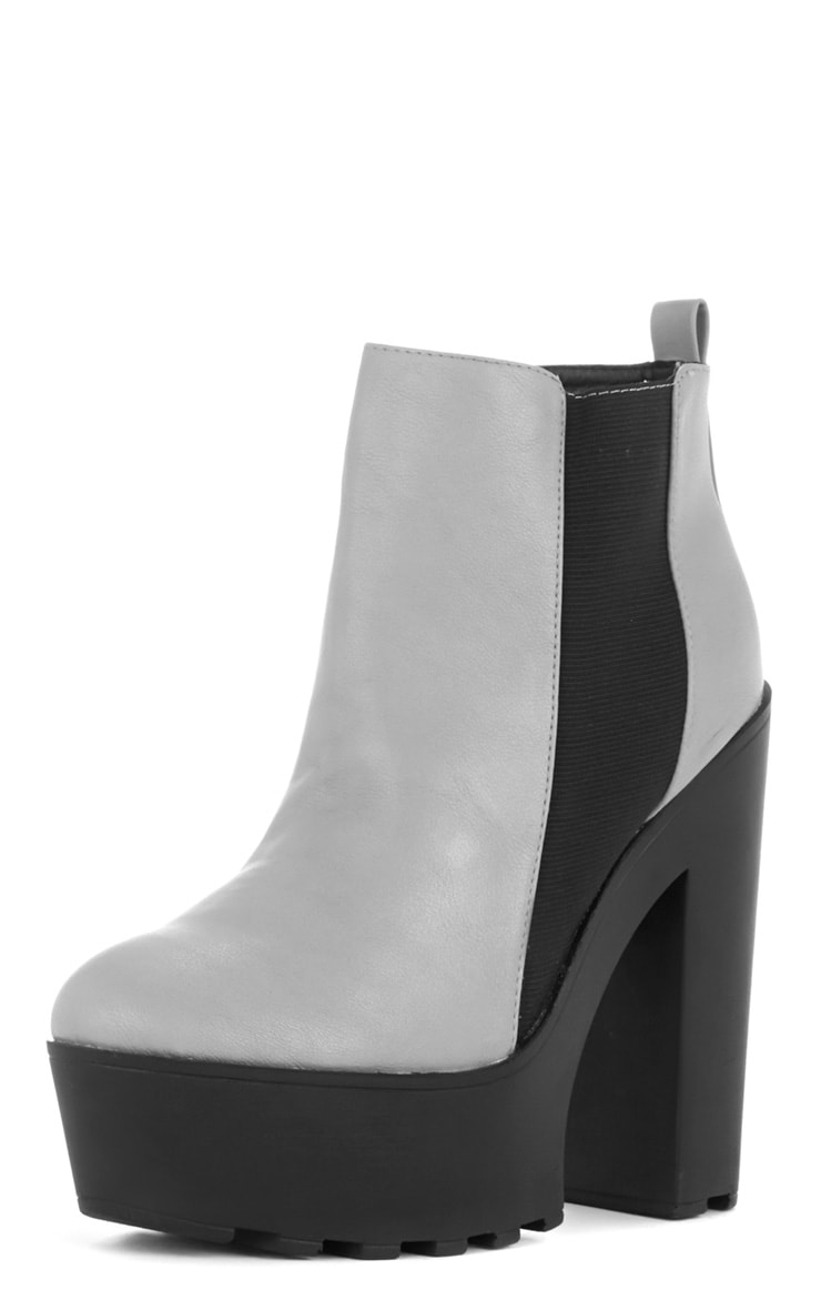 Asma Grey Elasticated Chunky Boots 2