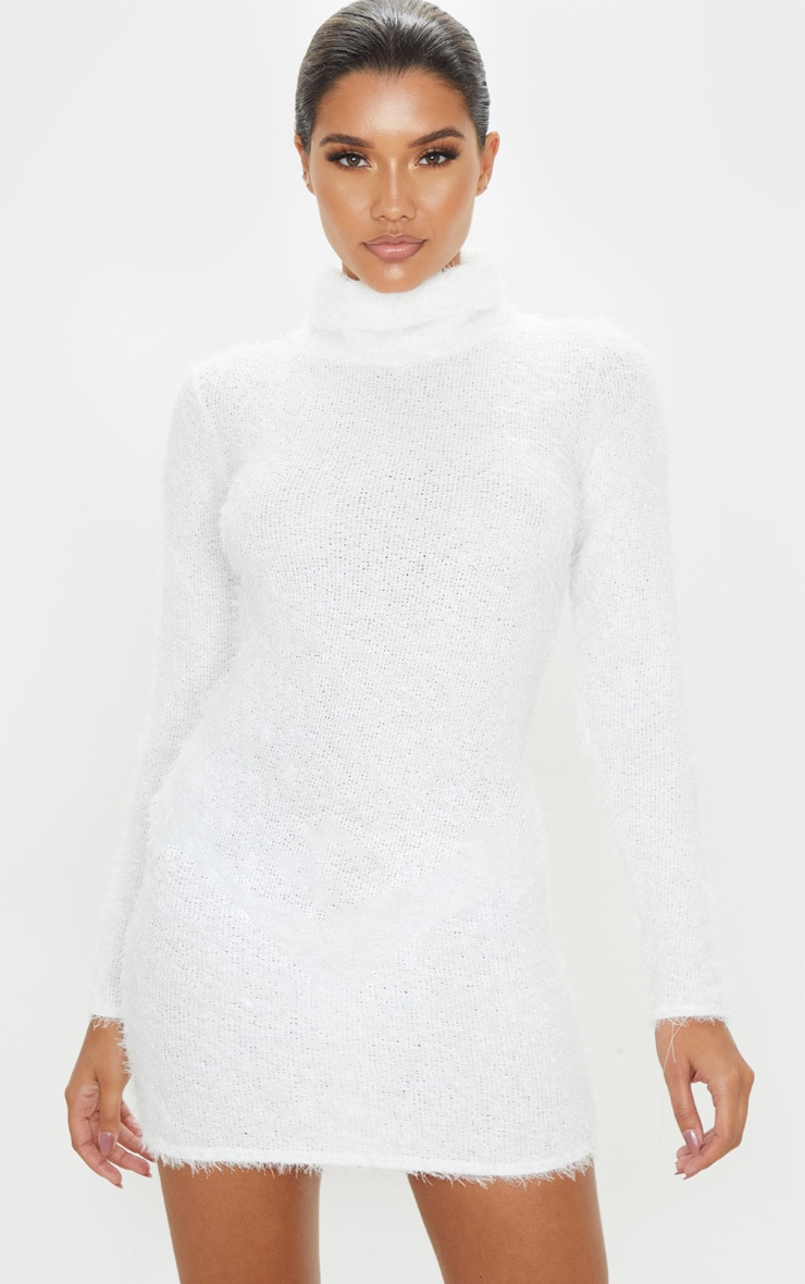 attractive price new product outlet boutique Ivory Eyelash Cowl Neck Bodycon Jumper Dress