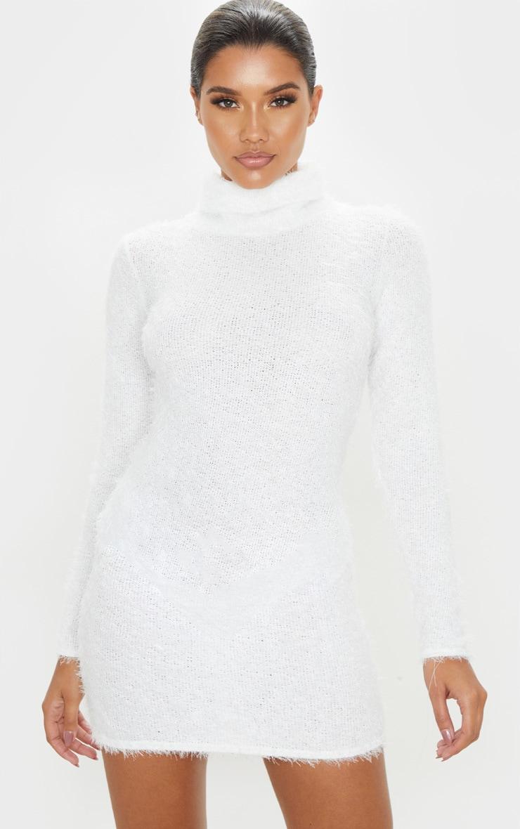 Ivory Eyelash Cowl Neck Bodycon Jumper Dress 1