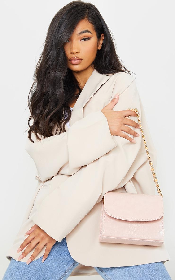 Pink Croc Chunky Chain Shoulder Bag 1