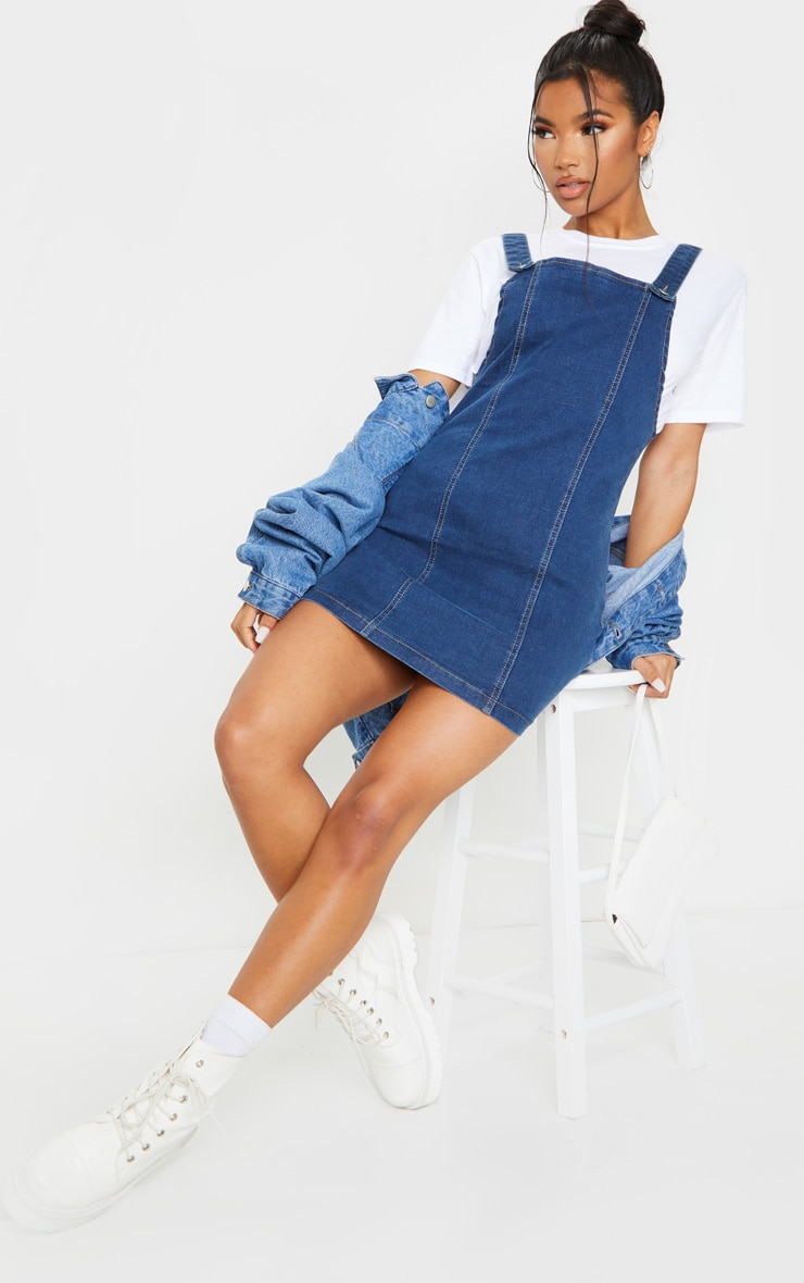 Mid Blue Wash Pinafore Denim Dress 4