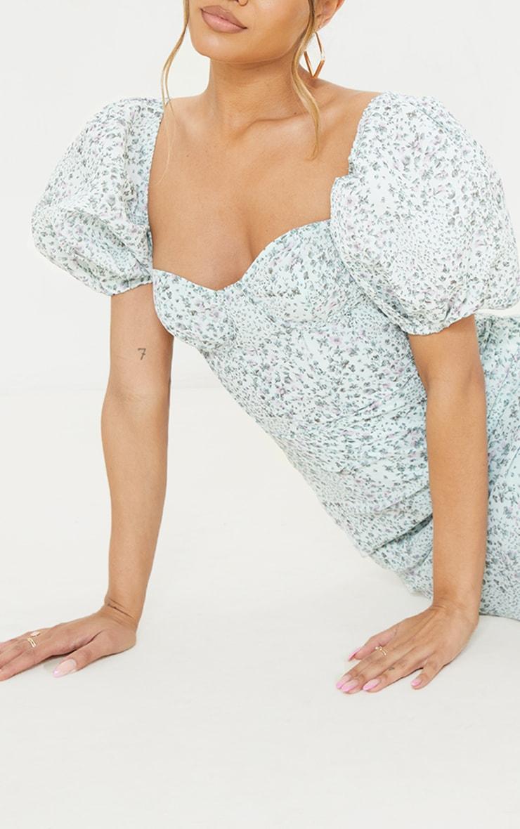 Mint Ditsy Print Binding Detail Ruched Hem Bodycon Dress 4
