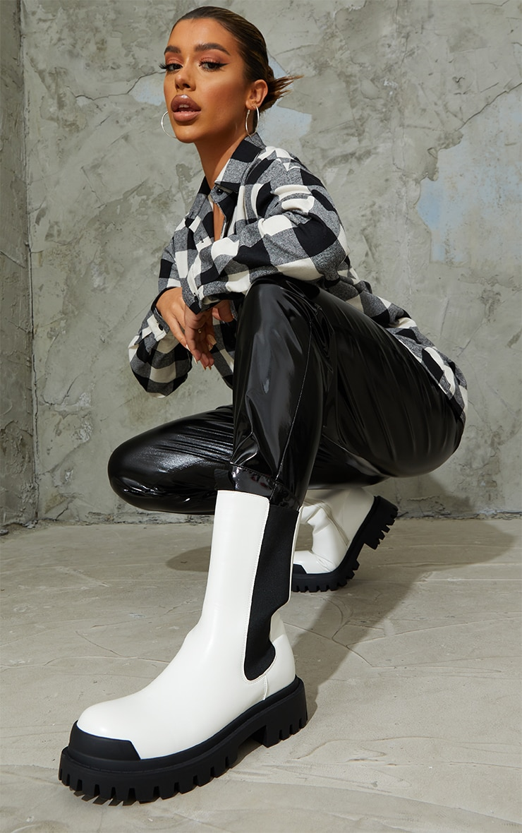 White Rubber Toe Calf High Chelsea Boots 1