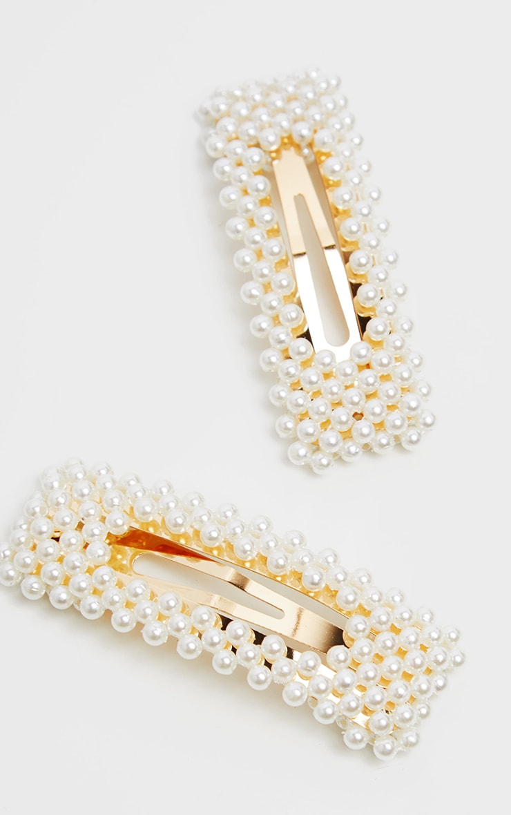 Pearl Cluster Large Two Pack Hair Slides 2