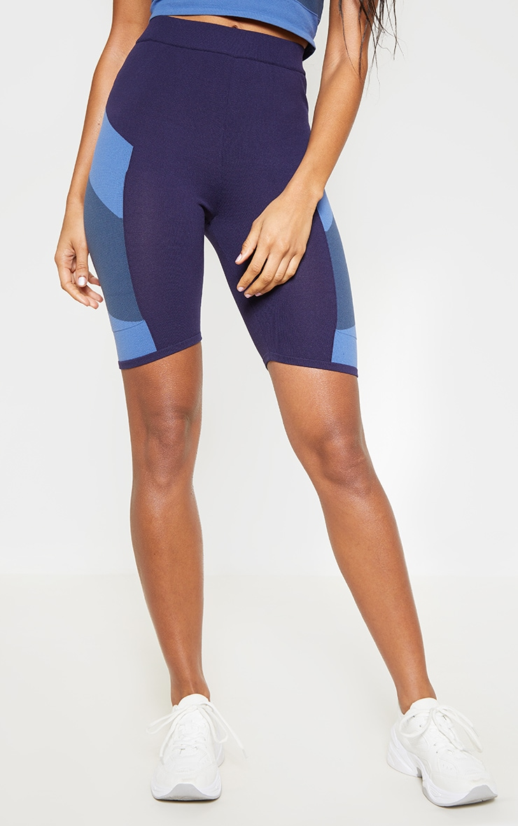 Blue Seamless Knit Gym Cycle Short 4
