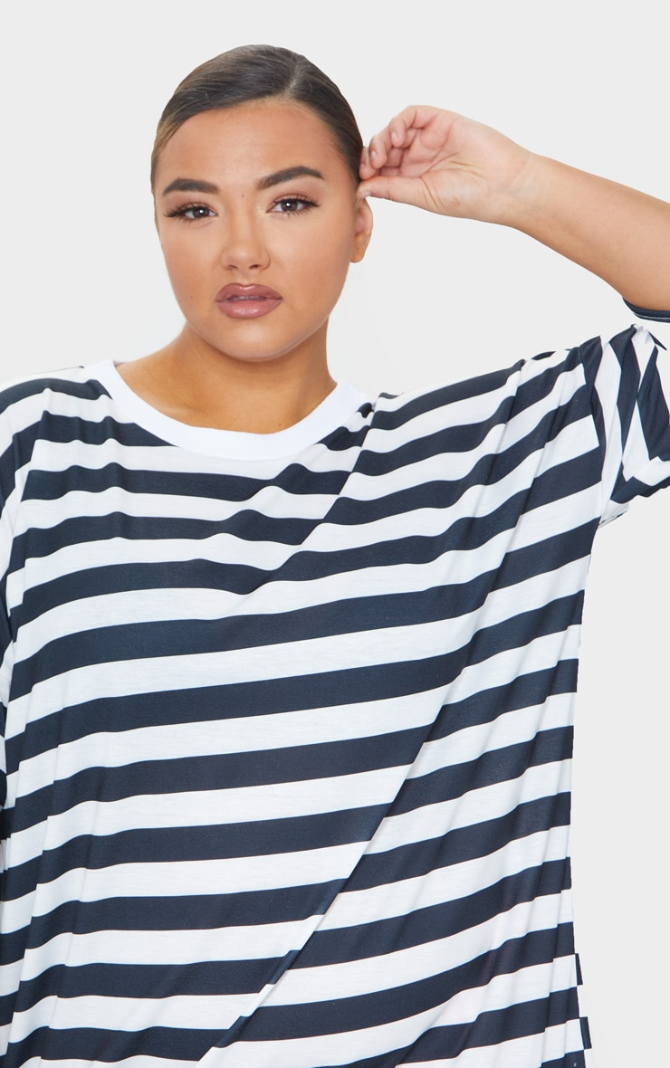 Plus Black Contrast Stripe Oversized Boyfriend T Shirt Dress 4