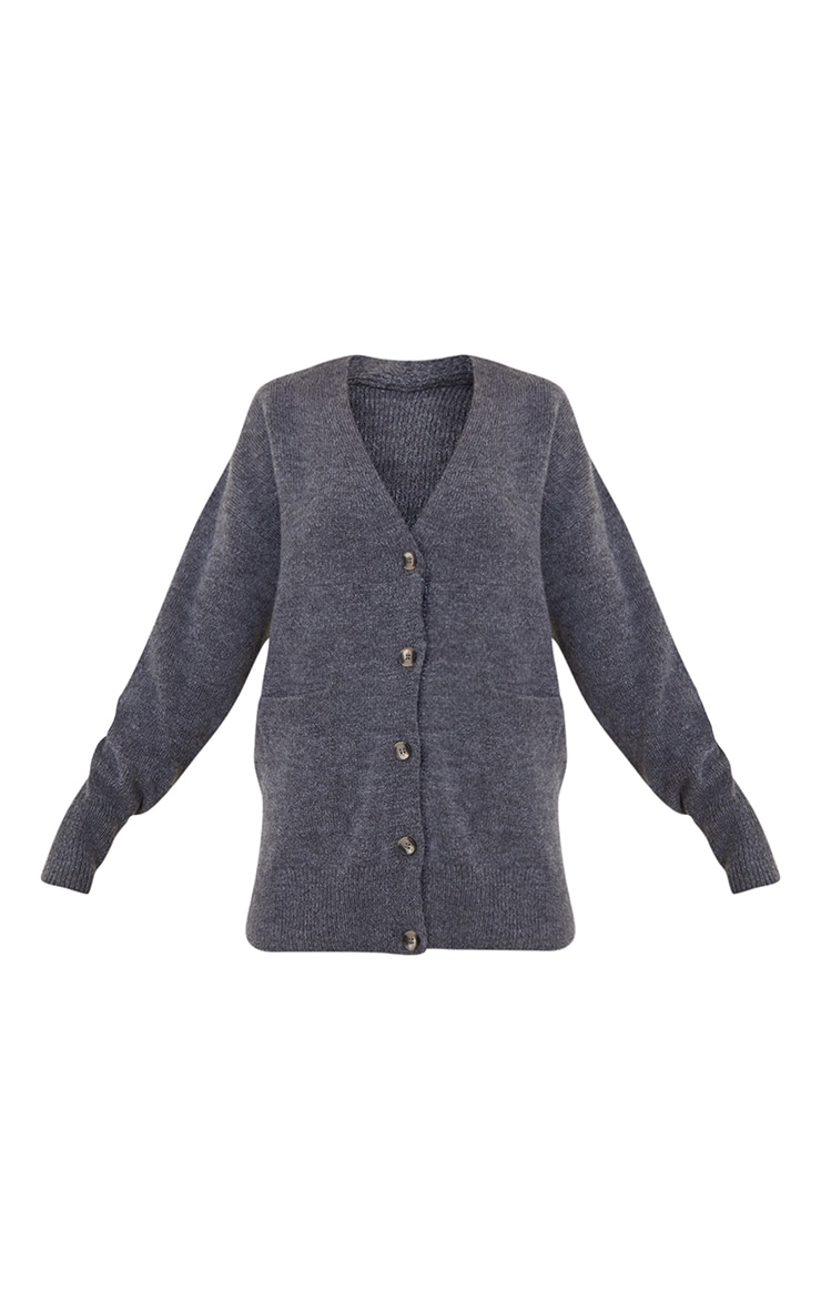 Grey Cosy Knitted Slouchy Button Down Cardigan 5