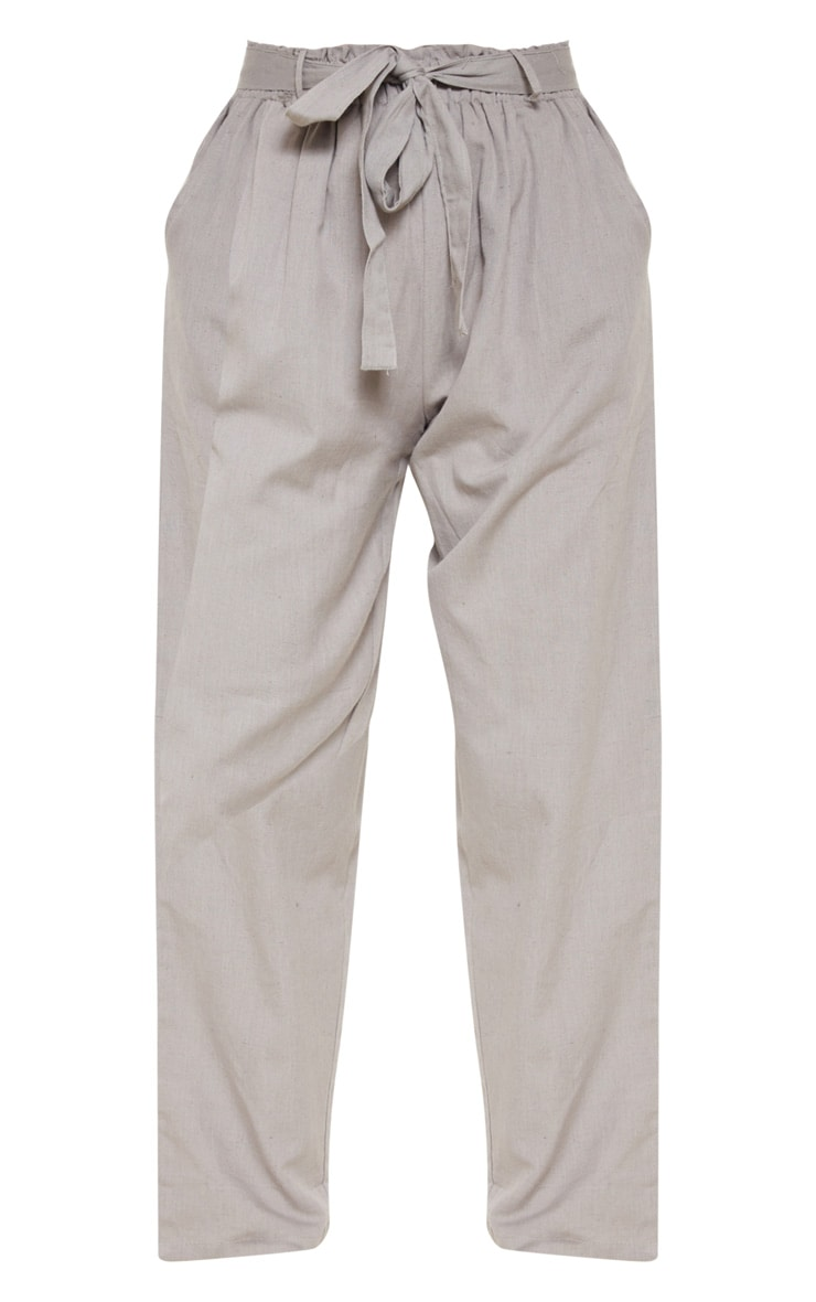 Pale Grey Paperbag Linen Feel Tie Waist Detail Pant 3