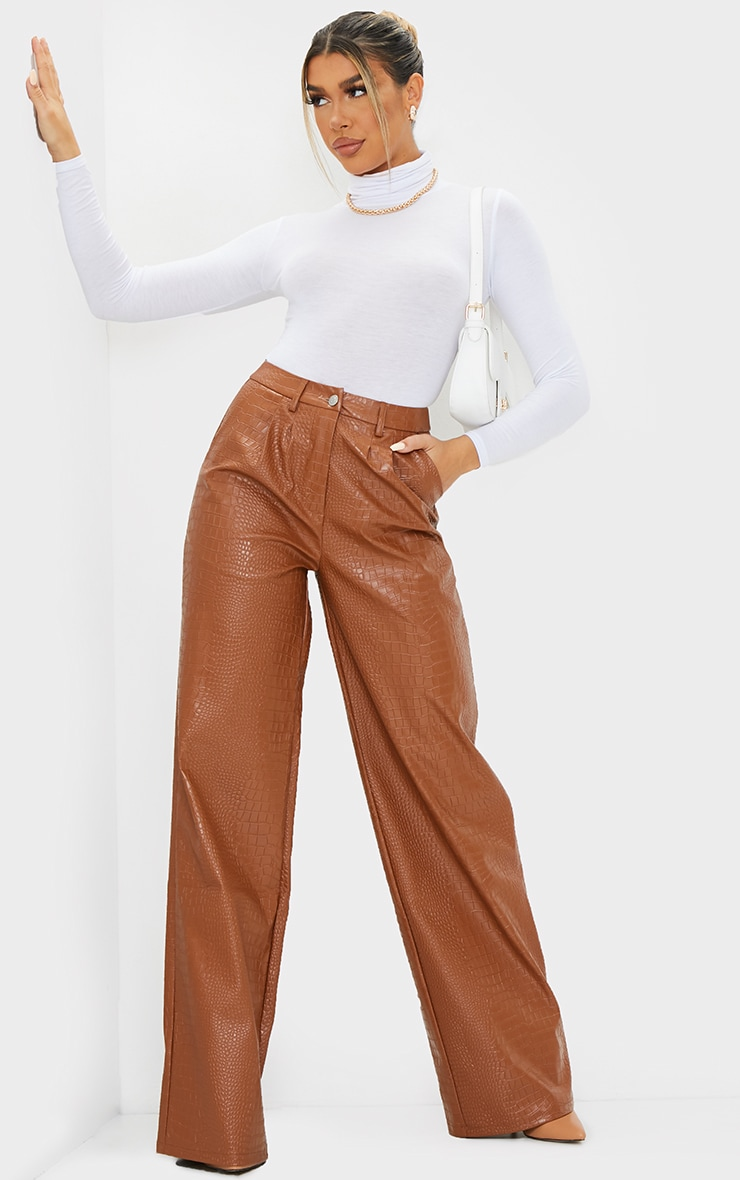 Chocolate Croc Faux Leather Wide Leg Trousers 1