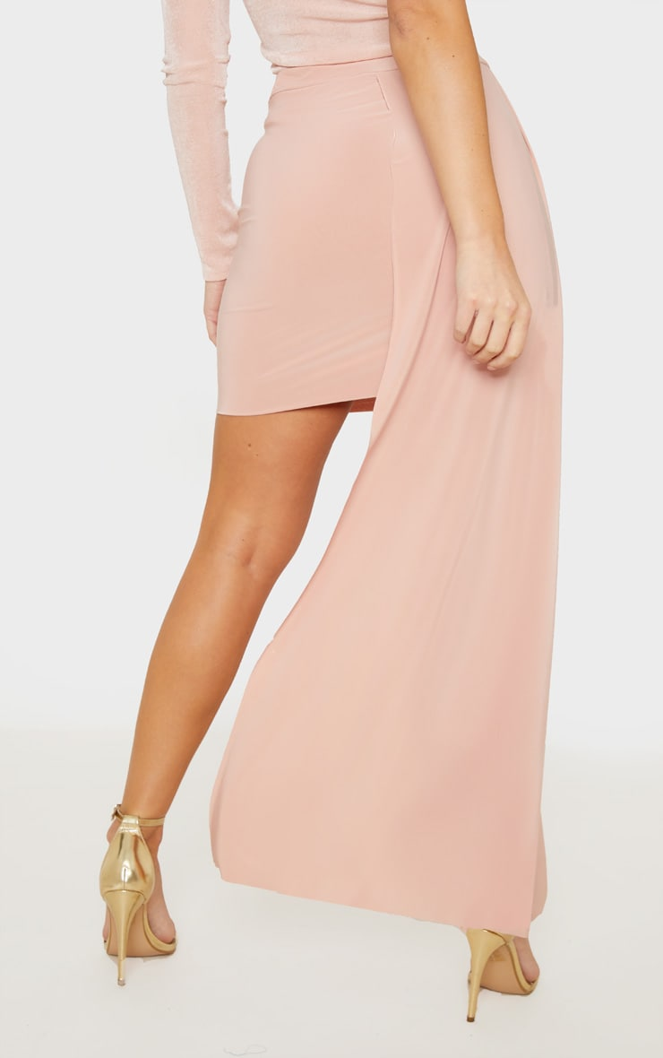 Dusty Pink Slinky Drape Detail Mini Skirt  4